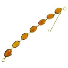 Signed Hobe link Bracelet with amber glass cabochons
