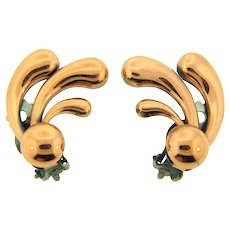 Signed Renoir abstract copper clip back Earrings