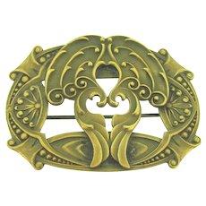 Art Nouveau brass Sash Pin