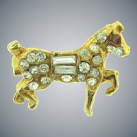 Vintage tiny equestrian horse Scatter Pin with crystal and red rhinestones