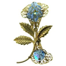 Vintage floral gold tone Brooch with blue glass beads