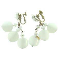 Signed Miriam Haskell white beaded glass clip back Earrings