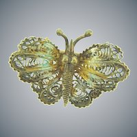 Marked 800 silver vermeil vintage filigree small figural butterfly Scatter Pin