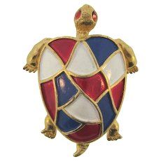 Signed Hollycraft figural turtle Brooch with a red,white and blue enamel shell