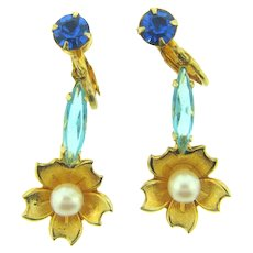 Vintage floral clip back dangling Earrings with blue rhinestones and imitation pearls