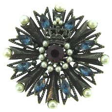 Signed Weiss regal Brooch with blue and red rhinestones and imitation pearls