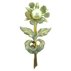 Marked Spain toledo ware flower Brooch with imitation pearl