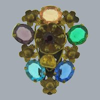 Marked Czechoslovakia gold tone floral Dress Clip with multicolored rhinestones