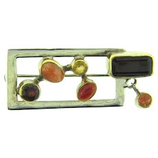 Marked 925 silver abstract Brooch with semi precious stones