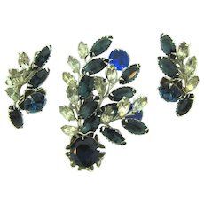 Vintage 1950's Brooch and clip back Earrings with crystal and blue rhinestones