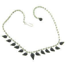 Vintage 1950's crystal rhinestone choker Necklace with tear drop black stones