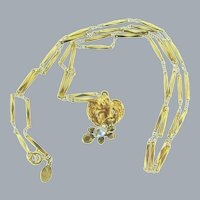 Signed Kirk's Folly pendant gold tone Necklace with winged cherub