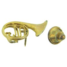 Signed Future Primitive figural French Horn lapel Pin/Tie tack
