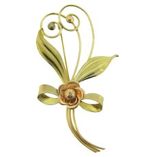 Signed Harry Iskin 1/20 12K gold filled floral Brooch