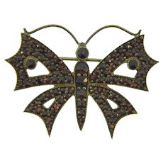 Marked 900 silver Bohemian garnet figural butterfly Brooch