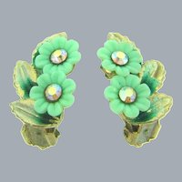 Vintage 1960's clip back Earrings with plastic flowers,enamel and AB rhinestones