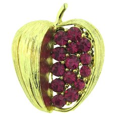 Vintage figural apple Brooch with fuchsia rhinestones