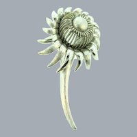 Signed Pegasus Coro silver tone flower Brooch