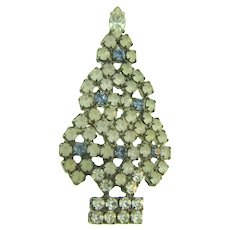 Vintage figural Christmas tree Brooch with opaque, blue and crystal rhinestones