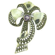 Vintage bow sterling silver Brooch with marcasites and amethyst stone