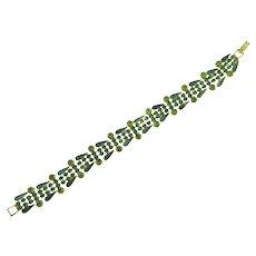 Vintage petite link Bracelet with green rhinestones and enamel