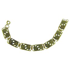 Vintage link gold tone Bracelet with enamel floral design