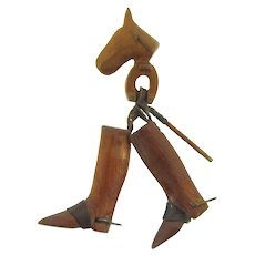 Vintage wooden and leather Equestrian themed Brooch