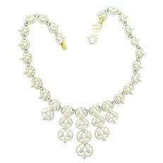 Signed Crown Trifari white enamel bib Necklace