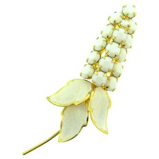 Vintage hyacinth flower Brooch with white enamel and white opaque stones