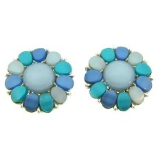Vintage thermoset clip back Earrings in shades of blue