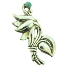 Marked made in Mexico silver large floral Brooch with turquoise stone