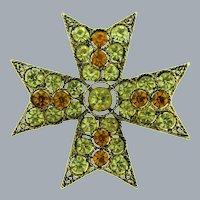 Signed Lisner Maltese cross Brooch in amber and topaz rhinestones