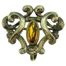 Early Art Nouveau watch pin with topaz glass stone