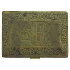 Vintage small box with chased R and rooster with purple velvet interior