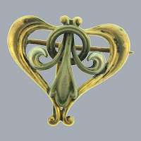 Vintage Art Nouveau early 1900's heart shaped Watch Pin
