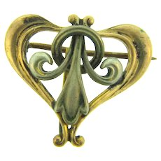 Vintage Art Nouveau early 1900's heart shaped Watch Pin