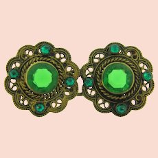 Vintage 2 part gold tone Belt Buckle with green rhinestones