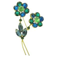 Vintage floral rhinestone Brooch in shades of blue and green