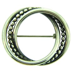 Signed Beau sterling silver triple ring Brooch