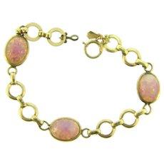Signed AMCO  1/20 12 kt gold filled link Bracelet with opalescent glass stones