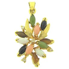 Vintage gold filled Pendant with semi precious stones