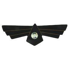 Vintage Art Deco early plastic black Brooch with crystal rhinestone