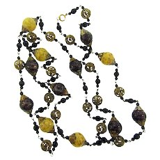 Vintage 54 inch beaded Necklace with adventurine art glass beads