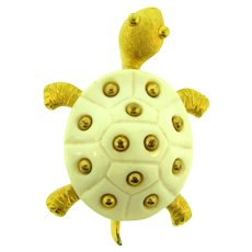 Signed Crown Trifari gold tone turtle Brooch with white plastic shell