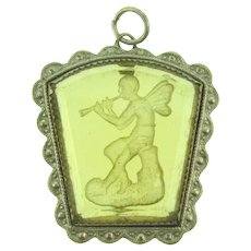 Vintage reverse carved Cupid playing the flute glass Pendant