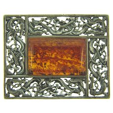 Marked 925 sterling silver Brooch with Baltic amber stone