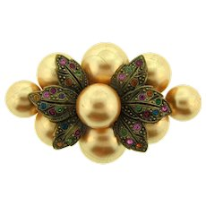 Early vintage Brooch with paper mache large beads and multicolored rhinestones