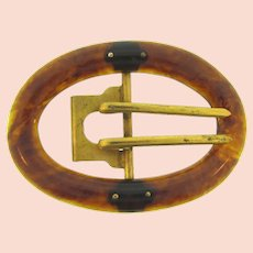 Vintage large early plastic root beer swirled Belt Buckle with gold tone double hooks
