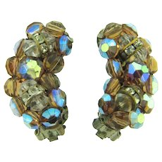 Vintage clip back 1960's clip back Earrings with brown AB beads, crystal beads and rondeles