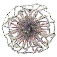 Signed Vendome large dimensional seed bead flower Brooch